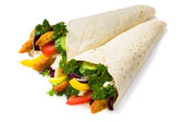 Kebab with vegetables and chicken isolated — Stock Photo