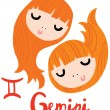 Stock Vector: Zodiac Signs Gemini