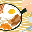 English Breakfast in a Pan — Stock Vector