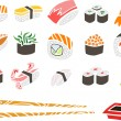 Sushi Set with Chopsticks and Soy Sauce — Stock Vector #41929397