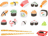 Sushi Set with Chopsticks and Soy Sauce — Stock Vector