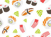 Tuna, Salmon and Smoked Eel Sushi — Vector de stock