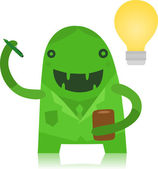 Business Monster with an Idea — Stock Vector