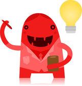 Student Monster with an Idea — Vetor de Stock