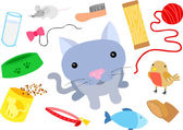 Cat with Typical Cat Things — Stock Vector