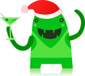 Monster Partying in Christmas Outfit — Stock Vector