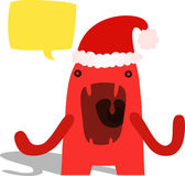 Red Monster Stressed About Christmas — Stock Vector