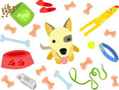 Cute Puppy with Toys — Stock Vector