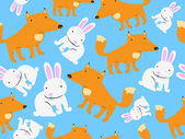 Cute Fox and Rabbit — Stock Vector