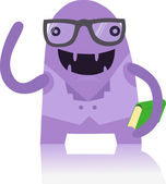 Nerdy Monster with a Book — Stock Vector