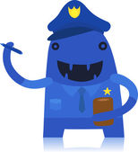 Traffic Cop Monster Character — Stock Vector