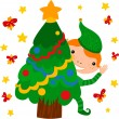 Elf Dressing Up Christmas Tree — Vecteur #43392081