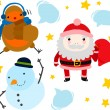 Santa, Robin and Snowman — Stock Vector