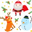 Three Funny Christmas Characters — Stock Vector