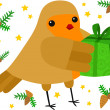 Robin with a Gift — Stock Vector