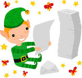 Elf Reading the Kids Letters — Stock Vector