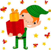 Elf Carrying Gifts — Stock Vector