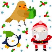 Robin, Penguin and Santa — Stock Vector