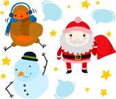 Santa, Robin and Snowman — Stock Vector
