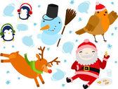 Santa, Robin, Reindeer, Penguins and Snowman — Stock Vector