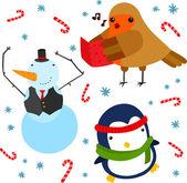Robin, Penguin and Snowman — Stock Vector