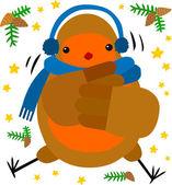 Christmas Robin Cold — Stock Vector