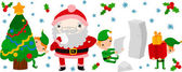 Santa Reading To Do List and His Elf Helpers — Stock Vector