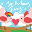 Valentines Day Love Birds with a Heart, — Stock Vector