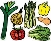 Super zdrowy zestaw warzyw — Wektor stockowy