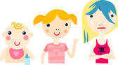 Girl at Different Ages Sequence — Stock Vector