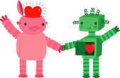 Two Cute Robots In Love — Stock Vector