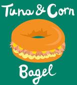Tuna and Corn Bagel — Stock Vector