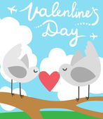 Valentines Day Love Birds — Vettoriale Stock