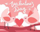 Uccelli amore San Valentino — Vettoriale Stock