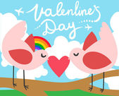 Valentines Day Love Birds with a Heart, — Vettoriale Stock