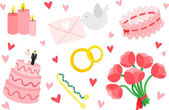 Wedding Items Set — Wektor stockowy