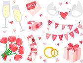 Wedding Items Set — Stock Vector