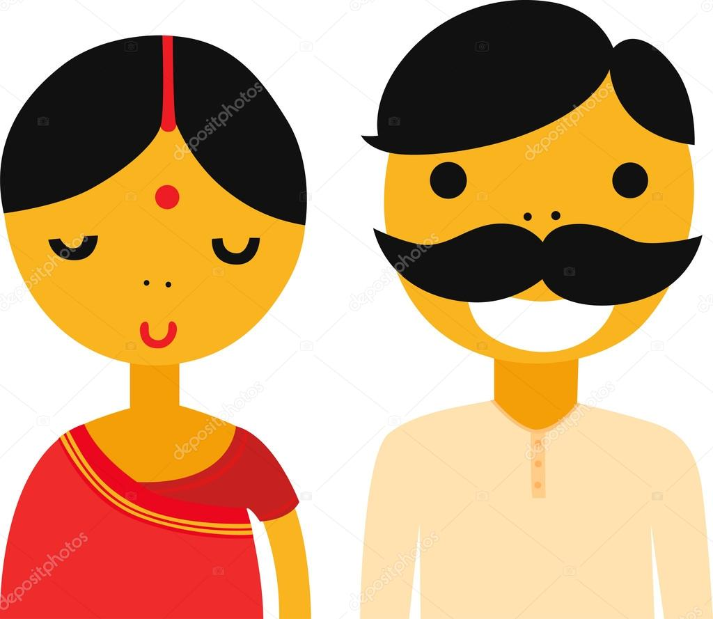 Indian Woman and Man — Stock Vector © lenanayashkova #44414897