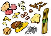 Alimentos ricos em carboidratos — Vetorial Stock