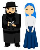 Mulher e homem judeu — Vetor de Stock