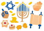 Hanukkah Traditional Attributes — Stock Vector