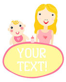 Mother and Baby Girl — Stock Vector