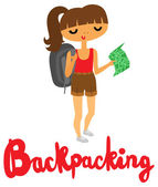 Pretty Girl Backpacker with Type — Stock Vector