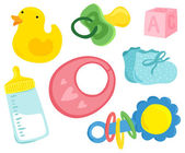 Cute Baby Stuff Set — Stock Vector