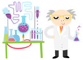 Scientist Conducting a Chemical Experiment — Stock Vector