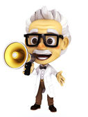 Professor with megaphone — Stock Photo