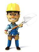 Handy man with shovel — Stock Photo