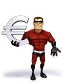 Super Hero with Euro symbol — Stock Photo