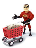 Super Hero with shopping trolley — Stock Photo