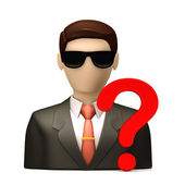 Business people with question mark — Stock Photo